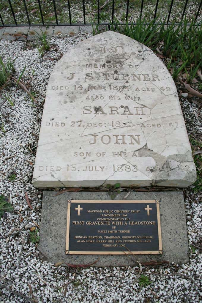 James Turner First grave in the cemetery with a headstone